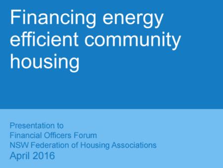 CEFC Financing Energy Efficient Community Housing