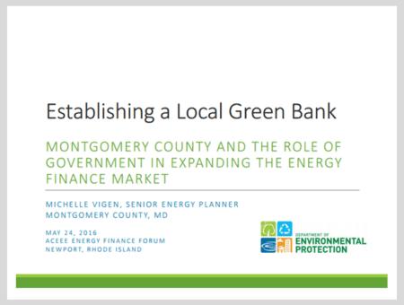 Establishing a local green bank