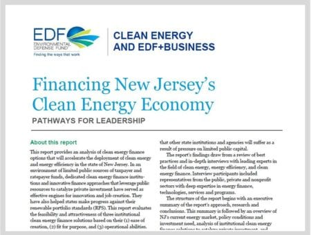 Financing New Jersey's Clean Energy Economy