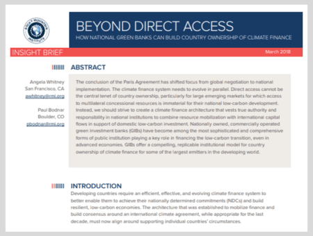 Beyond Direct Access: How National Green Banks Can Build Country Ownership of Climate Finance
