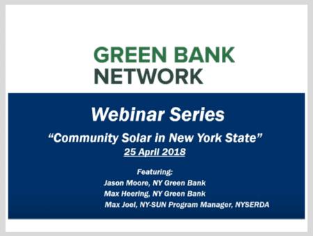 Community Solar: NY Green Bank's Financing Approach and NYSERDA Programs