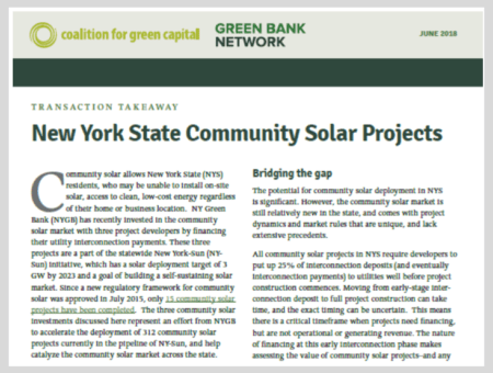 Transaction Takeaway: New York State Community Solar Projects