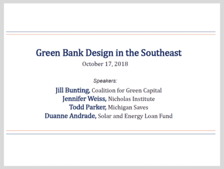 Green Bank Design in the Southeast