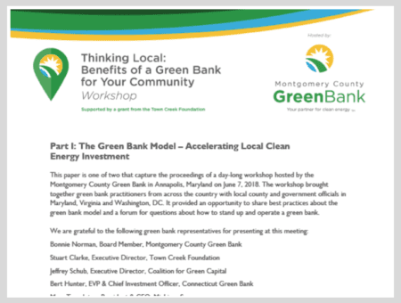Part I: The Green Bank Model – Accelerating Local Clean Energy Investment