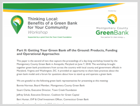 Part II: Getting Your Green Bank Off the Ground: Products, Funding and Operational Approaches