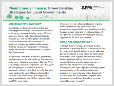 Green Banking Strategies for Local Governments