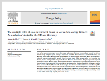 The multiple roles of state investment banks in low-carbon energy finance: An analysis of Australia, the UK and Germany