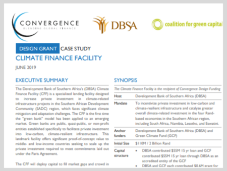 Case Study: Development Bank of South Africa's Climate Finance Facility