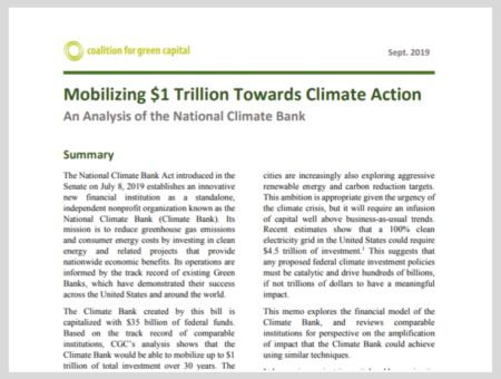 Mobilizing $1 Trillion Towards Climate Action: An Analysis of the National Climate Bank